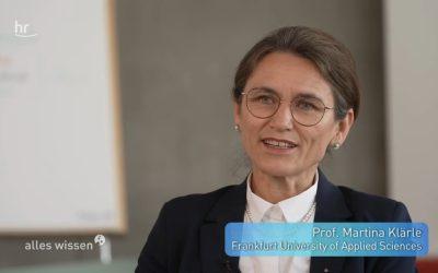 """Prof. Dr. Martina Klärle im Fernsehen bei HR """"alles wissen"""""""